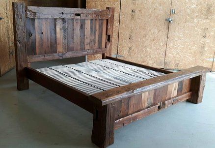 Barn Beam And Barn Board Bed In 2020 Barn Furniture Wood Bed Frame Diy King Bed Frame
