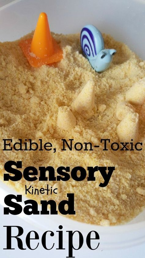 Make your own Kinetic Sand Recipe! Edible, non-toxic sensory DIY recipe - great for toddlers, preschool, sand box, etc.