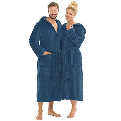 0463deb464 Peignoir avec capuche pour homme femme doux et super moelleuse, Coral  Fleece Manteau Sauna Long, capuche Manteau Peignoir pour sauna femmes…