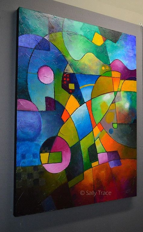 Ongekend Grote abstracte kunst, Giclée print op gespannen doek van mijn VU-63