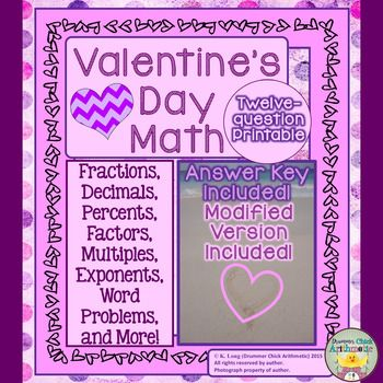 Valentine\u0027s Day Math Worksheet - Fractions, Decimals, Percents, and