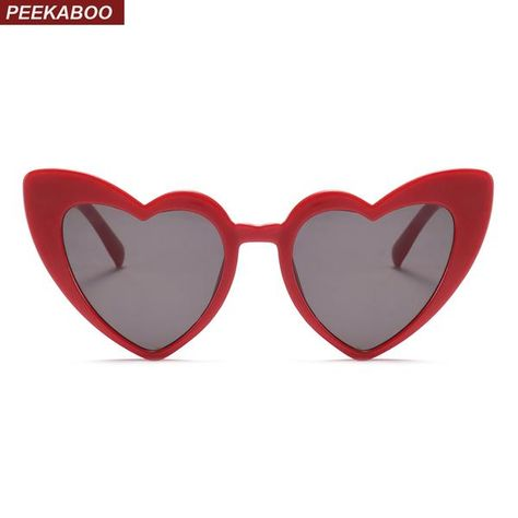 3ed19c132b8 Peekaboo love heart sunglasses women cat eye vintage Christmas gift black  pink red heart shape sun glasses for women uv400