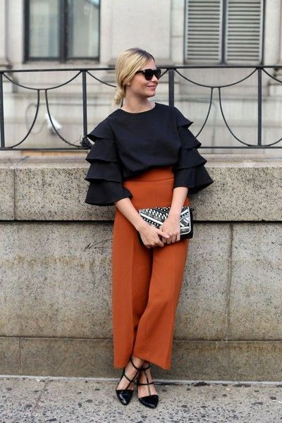 Made Interesting with Structured Sleeves - How to Style Wide Leg Pants - Photos