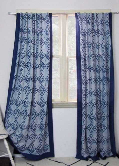 Moderne Polar Eclectic Geometric Curtain Fabric In A Mix Of Navy