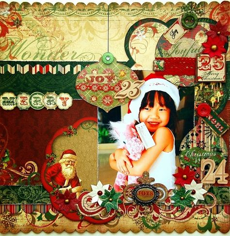 Scrapperlicious: Merry scrapbook layout by Irene Tan using BoBunny Rejoice collection and Clear Scraps acrylic ornaments and shapes.