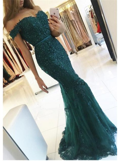 Mermaid Off-the-Shoulder Lace Long Prom Evening Dresses #promdress #greenpromdress #lacepromdresses #lacepromdresses2020