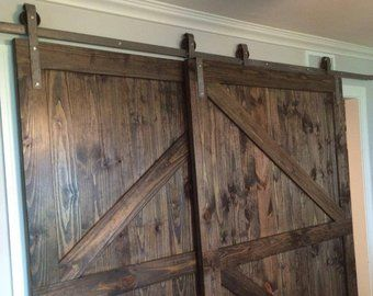 Double Door Sliding Barn Door Hardware Roller Kit Made In Etsy Bypass Barn Door Hardware Barn Doors Sliding Bypass Barn Door