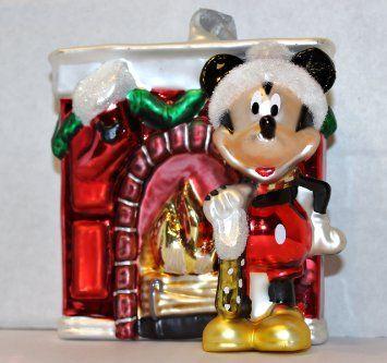 Disney Mickey Mouse /& Minnie Mouse Ice Cream Cone Blown Glass Ornaments NIB