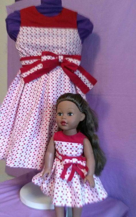 "WATERMELON /& DAISIES dress /& matching bow barette fits 23/"" My Twinn"