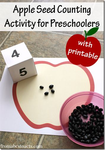 Preschool theme: Fruit and Vegetables! Apple Seed Counting Activity for Preschoolers with free printable Counting Activities For Preschoolers, Preschool Lessons, Preschool Classroom, Preschool Learning, Math Activities, Apple Activities Kindergarten, Learning Games, Seed Activities For Kids, Kindergarten Apples