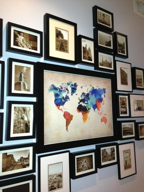 Map surrounded by pictures from each trip! I really like this idea!