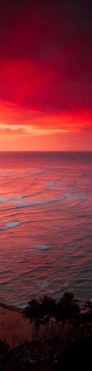 Waikiki Beach sunset.