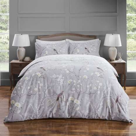 Dorma Maiya Grey 100 Cotton Reversible Duvet Cover Dunelm Bed Linens Luxury Grey Linen Bedding Luxury Bedding Master Bedroom
