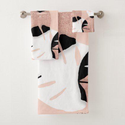 Modern Black White Rose Gold Glitter Monstera Leaf Bath Towel Set