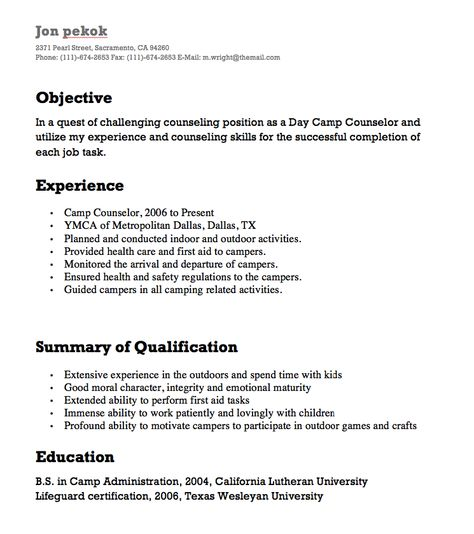 Camp Counselor Resumes -    resumesdesign camp-counselor - bartender skills resume