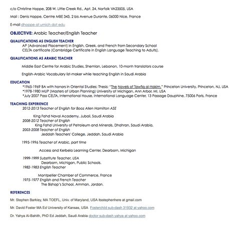 arabic teacher resume sample - http\/\/resumesdesign\/arabic - concierge resume