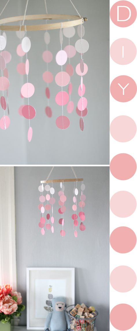 easy mobile, made from paint swatches and an embroidery hoop