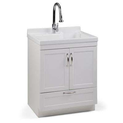 Maile 28 In X 22 In X 36 In Acrylic Abs Laundry Utility Sink With Faucet And White Cabinet Laundry Cabinets Simpli Home Laundry Sink