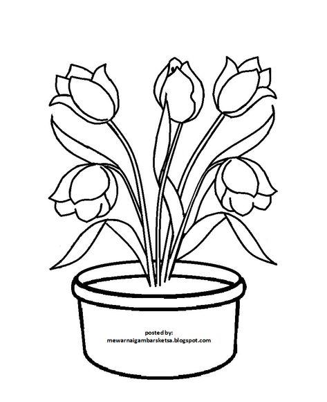 Gambar Bunga Yang Mudah Dan Berwarna Lukisan Bunga Bunga Gambar