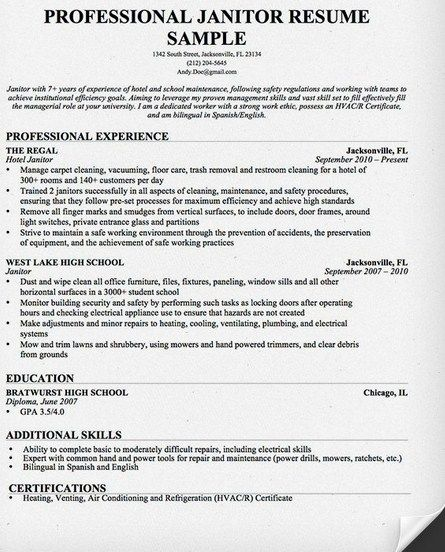 Professional Janitor Resume Sample - http\/\/getresumetemplateinfo - resume format for diploma holders
