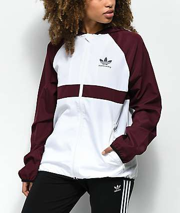 Anillo duro coro Decaer  adidas Burgundy & White Windbreaker Jacket   Windbreaker outfit casual,  Adidas outfit, Clothes for women