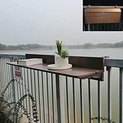 Folding Table Balcony Table Hardwood Table Hanging Railing Table Ight Adjustable Garden Table R Balcony R In 2020 Kleines Balkon Dekor Balkon Dekor Balkonentwurf