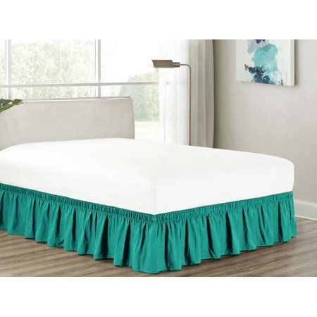 Heavy Duty Elastic Wrap Around 18 Drop Dust Ruffled Bed Skirt Cover Teal Blue Green Turquoise Queen Walmart Com In 2021 Bedskirt Ruffle Bedding Turquoise Bedding Green bed skirt queen