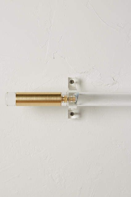 Brass Acrylic Curtain Rod Set Included Hanging Brackets