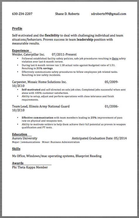 Sample Resume Welder 630-234-2207 Shane D Roberts sdroberts99 - resume for welder