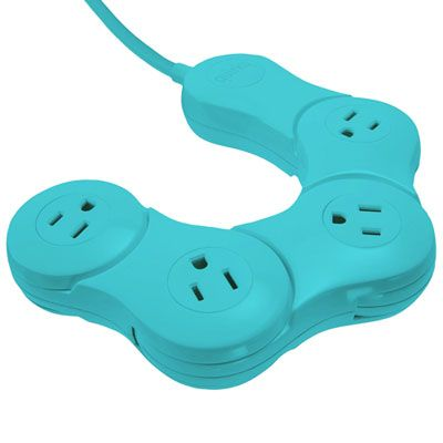 Quirky Pivot Power Junior 4 Outlets Power Strip w// Surge Protector Black