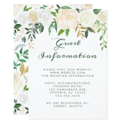 Watercolor Ivory Roses Green Leaves Wedding Info Invitation