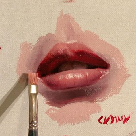 """""""Mi piace"""": 9,183, commenti: 99 - Andrew Cadima (@andrewcadima) su Instagram: """"Yet another video I've never posted here. Lips, oil on linen. Hoping to create a Patreon page…"""""""
