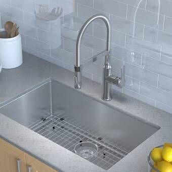 Handmade Stainless Steel 16 Gauge 32 L X 19 W Undermount Kitchen Sink With Faucet In 2020 Single Bowl Kitchen Sink Sink Farmhouse Sink Kitchen
