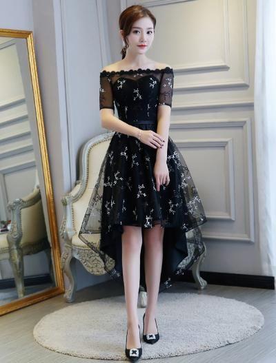 11f48603e26f1 DongCMY 2019 new zipper black color party short bride Tea-Length ...