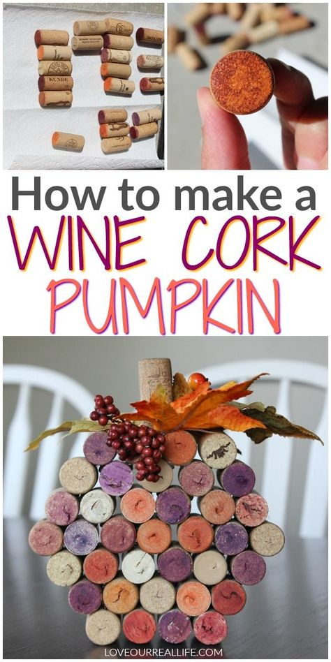 Diy fall crafts 828099450217733317 - Need fall craft and decorating ideas? Learn how to make this simple wine cork pumpkin. This easy and fast craft is perfect for groups and girls night out! Source by loveourreallife Wine Craft, Wine Cork Crafts, Wine Bottle Crafts, Fall Wine Bottles, Pumpkin Wine, Diy Pumpkin, Pumpkin Crafts, Girls Night Crafts, Craft Night