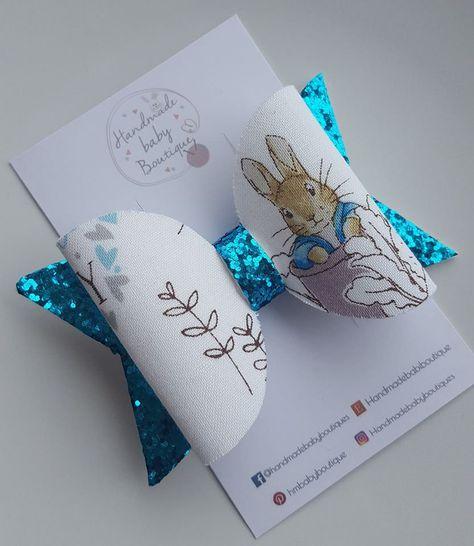 New Handmade Pretty Peter Rabbit Hair Bows Clips Or Baby Headbands