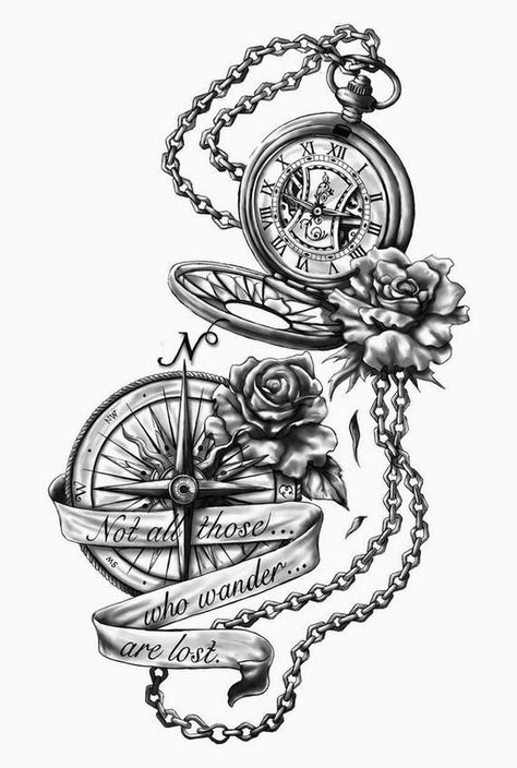 dessin tatouage gousset, boussole et chaine drawing tattoo gusset, compass and chain