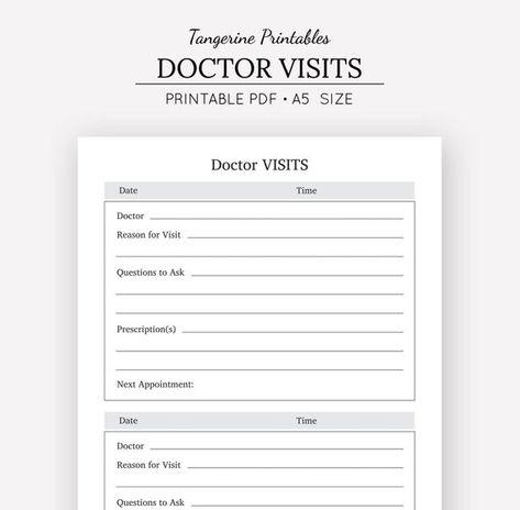 Doctor Visits Doctor Visits Log A5 A4 Us Letter Half Letter