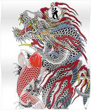Dragon And Koi Yakuza Poster Dragonkoifishtattoodesigns Small Dragon Tattoos Japanese Dragon Tattoos Koi Tattoo