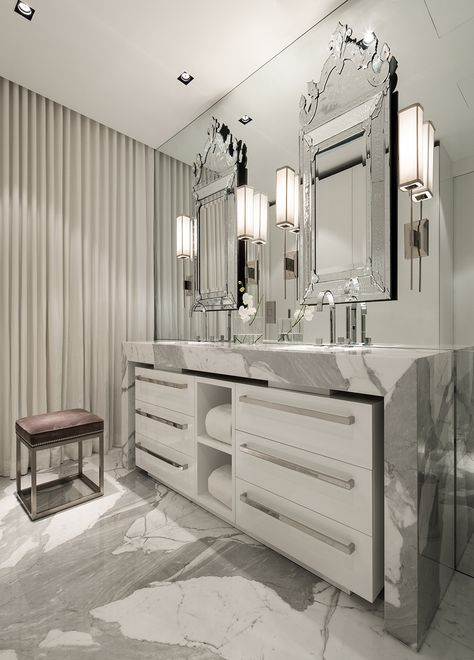 Bathroom - bookmatched marble - mirror on mirror - beautiful   Michael Dawkins Home