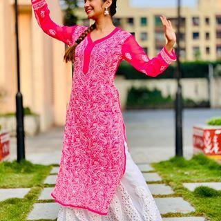 Hawa Main Hoke Malang Outfit Courtesy Lucknow I Chikan Outfits Long Sleeve Dress Cold Shoulder Dress