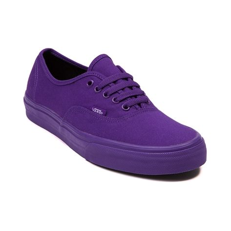 This special edition mono Authentic from Vans features a purple canvas upper, lace closure, and vulcanized rubber sole with waffle tread. Available only at Journeys and SHI!