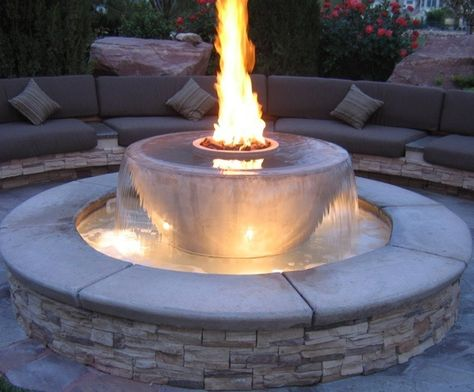 Water feature with fire pit.