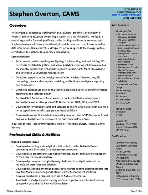 Business Intelligence Analyst Resume Example -   - plant inspector resume
