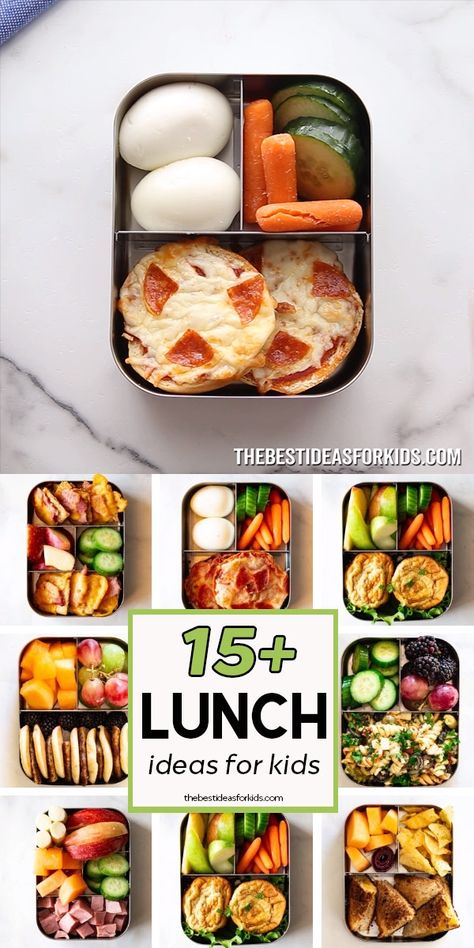 Over 15 easy school lunch ideas for kids! No more boring sandwiches. These are easy to make and can be rotated on a 3 week schedule.
