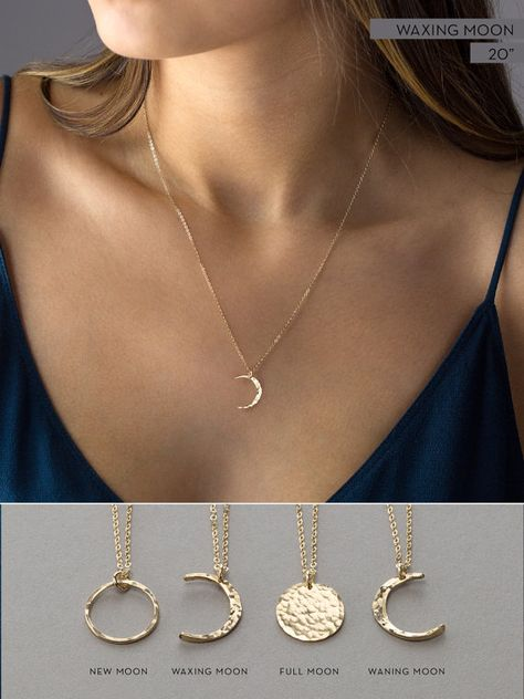 Simple Moon Necklaces in 14k Gold Fill, Sterling Silver or Rose Gold Fill. These Moon Phases Necklaces are dainty and gorgeous!