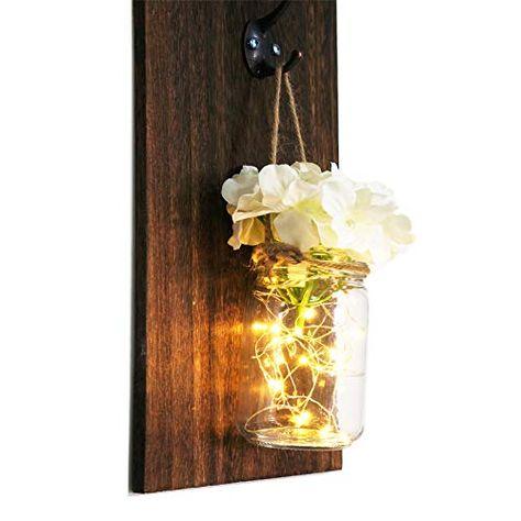 Rustic Home Decor,Wrought Iron Hooks Mason Jar Pint Sconce Rustic Wall Sconces