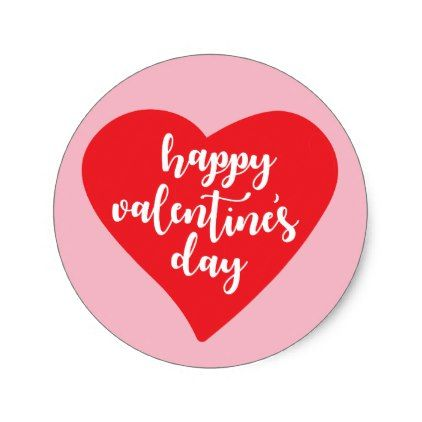 Happy ValentineS Day  Watercolor Heart Classic Round Sticker