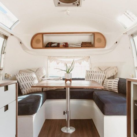 Yesterday, I staged and photographed this newly renovated Airstream at my dad's shop. 😍 This is Daisy, a 1968 Airstream Ambassador and… Airstream Living, Airstream Remodel, Airstream Renovation, Airstream Interior, Caravan Interior Makeover, Airstream Trailers, Airstream Decor, Caravan Living, Boler Trailer