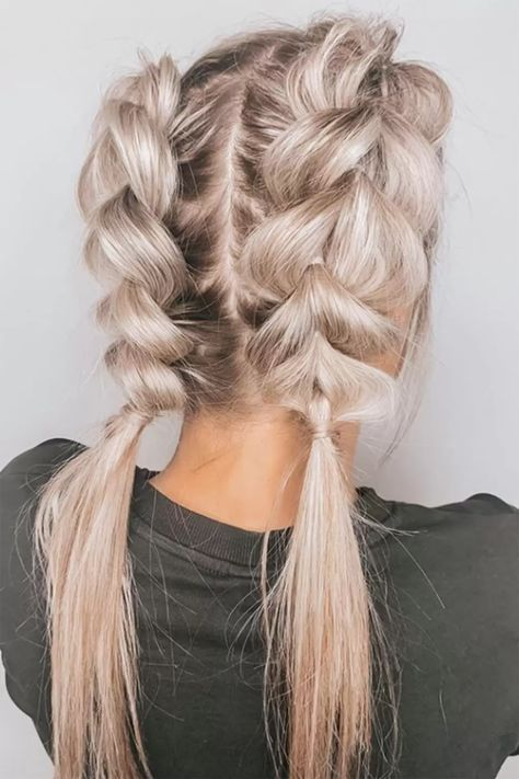 High pigtails - pull through braids Pigtail Hairstyles, Pigtail Braids, Work Hairstyles, Pretty Hairstyles, Braided Hairstyles, Medium Hair Braids, Medium Hair Styles, Short Hair Styles, High Pigtails